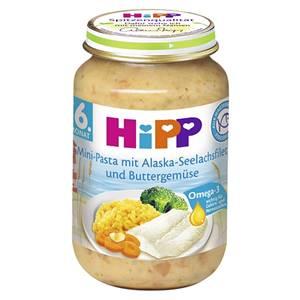 Hipp Mini Pasta mit Alaska Seelachsfilet und Buttergemüse