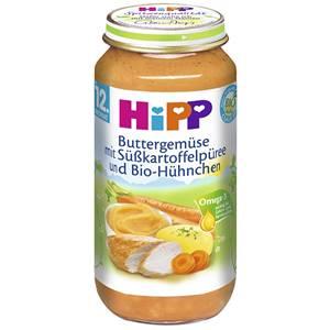 Bio Hipp Buttergemüse mit Süsskartoffelpüree und Bio Hühnchen