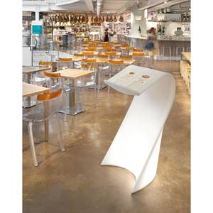 Stehpult Acolto 62x62x120 cm (LxBxH) weiß transluzent