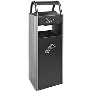 Standaschenbecher Kopa 35l, 30x96x25 cm (BxHxT) grau/schwarz rechteckig