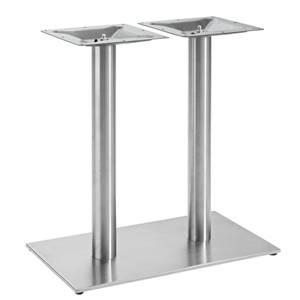Doppeltischsäule Argento 70x40x72 cm (BxLxH) silber rechteckig
