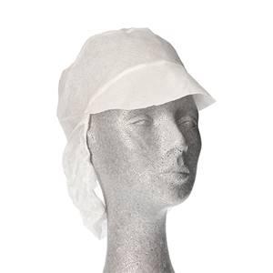 Kappen mit Schirm und Haarnetz, Vlies Ø 30 cm weiss