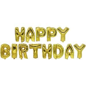 Folienluftballon-Set gold 'Happy Birthday'