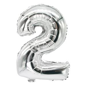 Folienluftballon 35 cm x 20 cm silber '2'