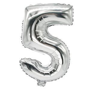 Folienluftballon 35 cm x 20 cm silber '5'