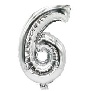 Folienluftballon 35 cm x 20 cm silber '6'