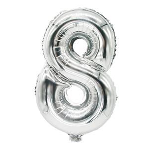 Folienluftballon 35 cm x 20 cm silber '8'