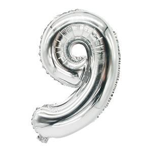Folienluftballon 35 cm x 20 cm silber '9'