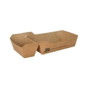 Pommes-Frites-Trays, Pappe pure 2-geteilt 3,5 cm x 7 cm x 12 cm braun 1 Fair' mittel