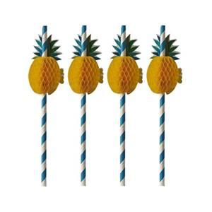 Trinkhalme, Papier Ø 6 mm · 20 cm blau/weiss Pineapple