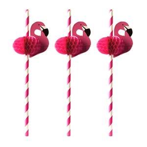 Trinkhalme, Papier Ø 6 mm · 20 cm pink Flamingo