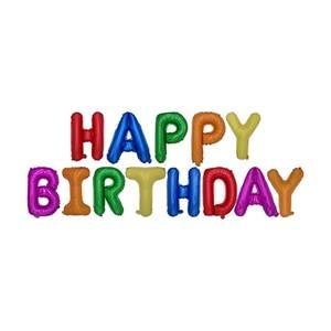 Folienluftballon-Set farbig sortiert 'Happy Birthday'