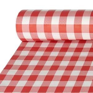 Papiertischtuch mit Damastprägung 50 m x 1 m rot 'Vichy Karo'
